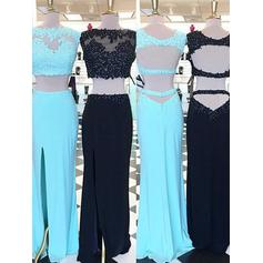 Sheath/Column Scoop Neck Floor-Length Prom Dresses With Beading Appliques Lace