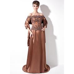 Moderni Charmeuse Off--Shoulder A-linjainen/Prinsessa Morsiamen äiti-mekot (008006171)