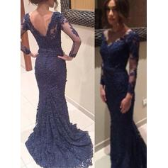 Lace Long Sleeves Trumpet/Mermaid Prom Dresses V-neck Sweep Train