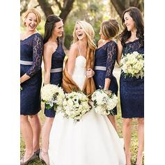 Lace Long Sleeves Sheath/Column Bridesmaid Dresses One-Shoulder Sash Short/Mini