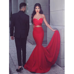 Jersey Sleeveless Trumpet/Mermaid Prom Dresses Sweetheart Ruffle Sweep Train