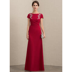 A-Line/Princess Scoop Neck Floor-Length Stretch Crepe Mother of the Bride Dress With Beading Sequins (008152143)