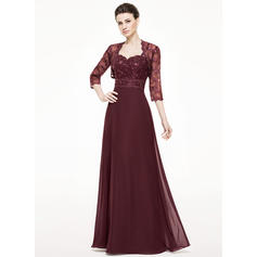 A-Line/Princess Chiffon Lace Sleeveless Sweetheart Floor-Length Zipper Up Mother of the Bride Dresses