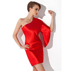 Sheath/Column One-Shoulder Short/Mini Charmeuse Cocktail Dresses (016021171)