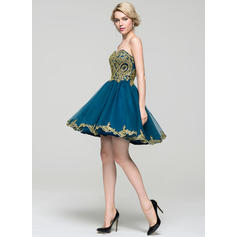 short homecoming dresses tulle sweetheart cocktail prom gowns