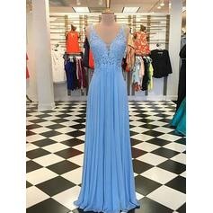 Chiffon Sleeveless A-Line/Princess Prom Dresses V-neck Ruffle Appliques Floor-Length