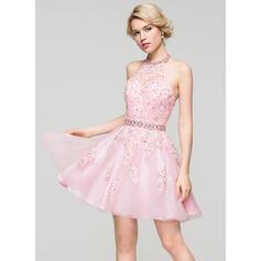 Vestidos princesa/ Formato A Cabresto Curto/Mini Tule Vestido de baile com Beading lantejoulas (018113201)