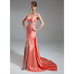 Trumpet/Mermaid V-neck Watteau Train Evening Dresses With Ruffle Beading Split Front