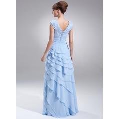 Corte A/Princesa Escote en V Gasa Sencillo Vestidos de madrina (008213113)