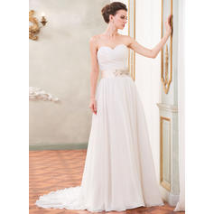 Strapless Sleeveless Sweetheart With Chiffon Wedding Dresses (002210571)