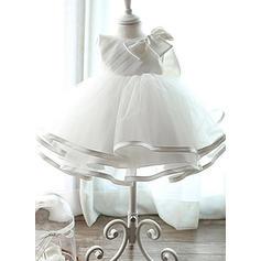Satiné Tulle Col rond À ruban(s) Robes de baptême bébé fille avec Sans manches (2001218003)