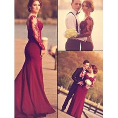 Satin Long Sleeves Trumpet/Mermaid Prom Dresses Sweetheart Appliques Lace Floor-Length