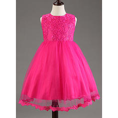 Corte A/Princesa Hasta la rodilla Vestidos de Niña Florista - Encaje/mezcla de algodón Sin mangas Escote redondo con Lazo(s) (010087796)