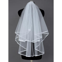 Fingertip Bridal Veils Tulle Two-tier Classic/Cascade With Ribbon Edge Wedding Veils