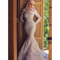 Lace Long Sleeves Trumpet/Mermaid Prom Dresses Scoop Neck Sash Appliques Lace Sweep Train
