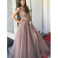 A-Line/Princess Tulle Prom Dresses Delicate Floor-Length Off-the-Shoulder Sleeveless