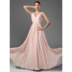 A-Line/Princess V-neck Floor-Length Chiffon Prom Dresses With Ruffle (018005068)