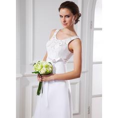 A-Line/Princess Scoop Neck Tea-Length Satin Organza Wedding Dress With Sash Beading Bow(s) (002015483)