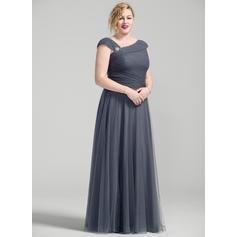 Vestidos princesa/ Formato A Tule Sem magas Longos Zipper nas costas Vestidos para a mãe da noiva (008077025)