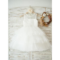 A-Line/Princess Tea-length Flower Girl Dress - Tulle/Lace Sleeveless Scoop Neck With Appliques (010131725)