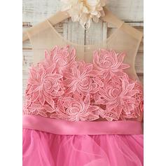 Forme Princesse Longueur genou Robes à Fleurs pour Filles - Tulle Sans manches Col rond avec Fleur(s) (010117697)