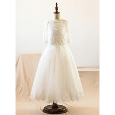 A-Line/Princess Floor-length Flower Girl Dress - Satin/Tulle/Lace Long Sleeves Bateau With Lace/Beading/Appliques