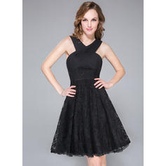 A-Line/Princess V-neck Knee-Length Chiffon Lace Cocktail Dress With Ruffle