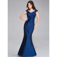 Floor-Length Trumpet/Mermaid Sleeveless Taffeta Bridesmaid Dresses