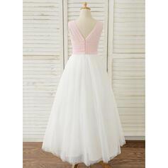 De Baile/Princesa Longos Vestidos de Menina das Flores - Tecido de seda/Tule Sem magas Decote V com Plissada (010183514)