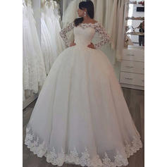 Off-The-Shoulder Sweep Train - Ball-Gown Tulle Wedding Dresses