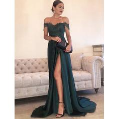 Stunning Off-the-Shoulder A-Line/Princess Sleeveless Charmeuse Evening Dresses (017217202)