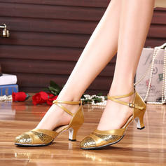 Women's Ballroom Heels Leatherette With Buckle Sequin Dance Shoes