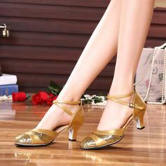 Femmes Salle de bal Talons Similicuir avec Boucle Paillette Chaussures de danse