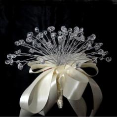 "Bridesmaid Bouquets Round Wedding Satin/Crystal 8.66""(Approx.22cm) Wedding Flowers"