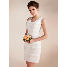 Simple Scoop Sheath/Column Wedding Dresses Short/Mini Chiffon Sleeveless (002211331)