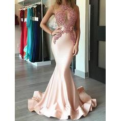 Trumpet/Mermaid Scoop Neck Sweep Train Prom Dresses (018148507)