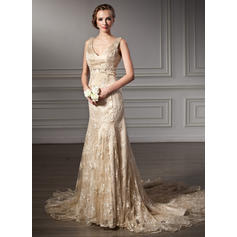 Trumpet/Mermaid Beading Lace Chapel Train Three-dimensional Wedding Dresses