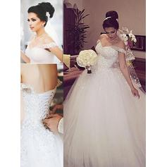 2019 New Floor-Length Ball-Gown Wedding Dresses Off-The-Shoulder Tulle Sleeveless