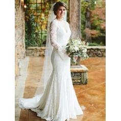 Long Sleeves V-neck With Lace Wedding Dresses (002218056)