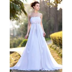 Modern Chiffon Strapless Wedding Dresses