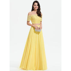 A-Line Off-the-Shoulder Floor-Length Chiffon Prom Dresses With Lace (018175906)