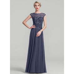 A-Line/Princess Scoop Neck Floor-Length Chiffon Lace Evening Dress With Ruffle (017131501)
