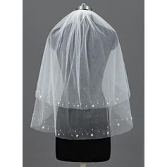 Codo velos nupciales Tul Dos capas Estilo clásico con Corte de borde Velos de novia