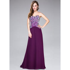 Chiffon Sleeveless A-Line/Princess Prom Dresses Sweetheart Beading Sweep Train