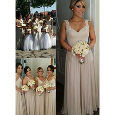 A-Line/Princess Floor-Length Chiffon Sweetheart Bridesmaid Dresses