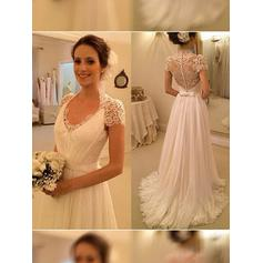 A-Line/Princess V-neck Sweep Train Wedding Dresses With Ruffle Bow(s)