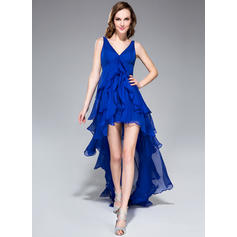 A-Line/Princess V-neck Asymmetrical Chiffon Homecoming Dresses With Cascading Ruffles (022214000)