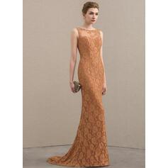 Trompete/Sereia Decote redondo Sweep/Brush trem Renda Vestido para a mãe da noiva (008152121)