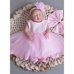 A-Line/Princess Scoop Neck Floor-length Tulle Christening Gowns With Bow(s)