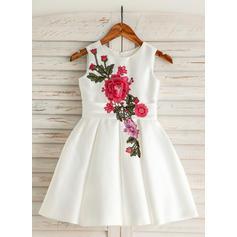 Scoop Neck A-Line/Princess Flower Girl Dresses Satin/Cotton Embroidered Sleeveless Knee-length